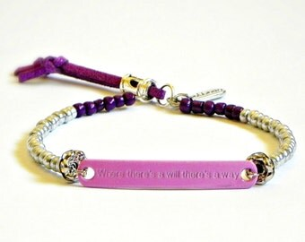 Awareness inspiration Bracelet - Where there's a will there's a way purple version