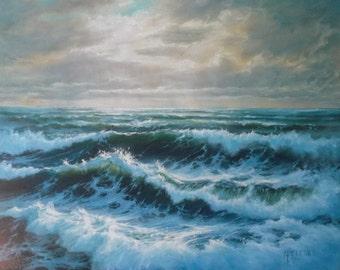 Twilight Seascape Sea Ocean Waves Surf Marine Original Oil Painting