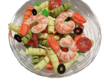 Pretend felt food...shrimp and pasta salad.