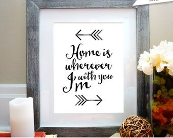 home is wherever im with you, printable wall art, anniversary gift, nursery decor, digital poster, wall decor, quote, inspirational print