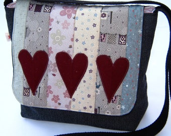 Grey denim patchwork messenger bag