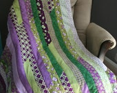 Purple and Green Throw Quilt