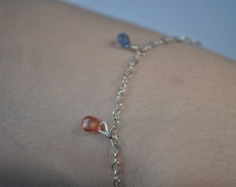925 Sterling silver and Indian Natural Gemstone Anklet