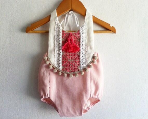 Pink fuchsia baby girl romper linen boho chic by vivabohostyle