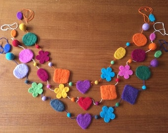 Wool Felted Shape Garland, Felt Decorative Multicolored Bunting, Hearts, Flowers, Squares Garland, Party, Room or Baby Shower Decoration
