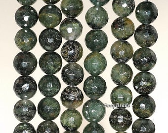 8mm Green Rutile Quartz Gemstone Faceted Round Loose Beads 7.5 inch Half Strand BULK LOT 1,2 and 6 (90191419-6)