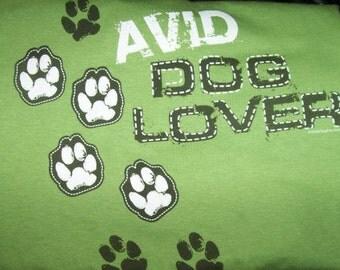 "2PawsUp Tshirt- ""Avid Dog Lover"" - Green"
