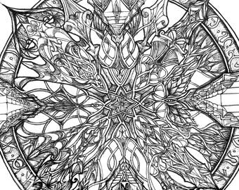 Mandala Ink drawing. Original drawing, Handmade art, Fine art Print, Pen and ink art, Ink illustration, Fine art, Original art, Abstract art
