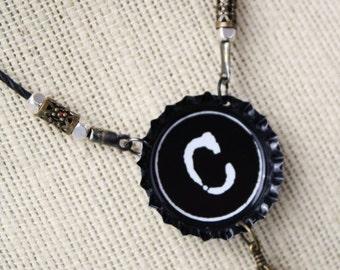 Bottle Cap Initial Necklace