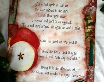 Home Protection Spell /  Book of Shadows loose page original collage page / Spell page / BOS