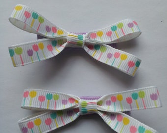 Small Ribbon Bow Hair Clips