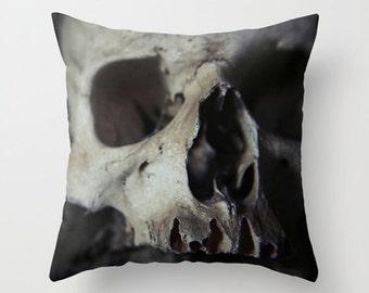 Skull pillow, skull cushion, bones, skull decor, goth decor, throw pillow, gothic decor, monochrome, photography pillow, scatter cushion
