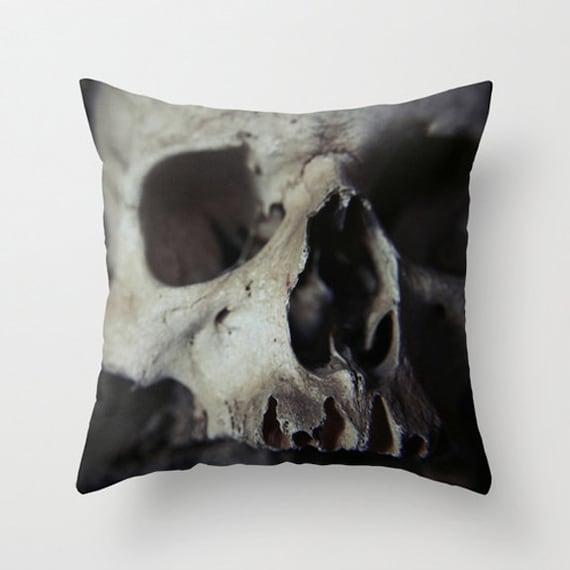 Skull pillow skull cushion bones skull decor goth decor