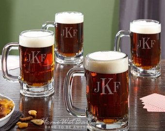 Benton Personalized Beer Mugs, Set of 4 - Includes 3 Initial Classic Monogram - Great Gift for Beer Lovers, Dad, Husband & More