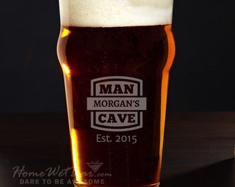 Personalized Pub Glass - Man Cave Pint Glasses, Custom Beer Glasses, Etched Beer Glass Makes Great Gift