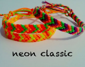 NEON Classic Friendship bracelet - SUMMER 6 String Bracelet made with colorful embroidery floss, Fluorescent