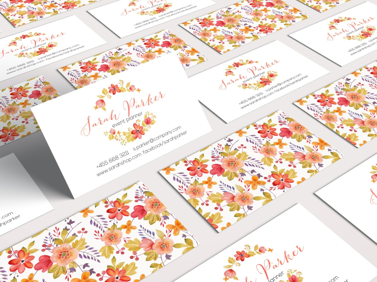 floral business card design ready to print 2 sides