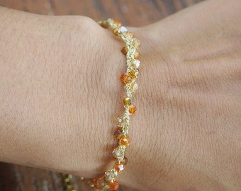 Orange mix beaded bracelet, Beaded bracelet, layer bracelet