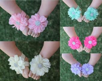 Handmade Baby Girl Barefoot Sandals Foot Flower Shoes Footwear Free Postage