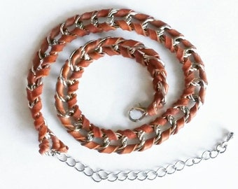 Leather wrapped chain bracelet