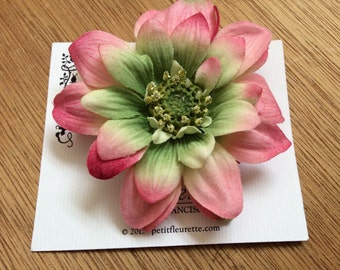 PINK Fade to Green Beautiful and Fun Silky Floral Daisy Flower Hairclip... Wedding... Bridal... Bridesmaids... VLV... Anytime Hair Clip
