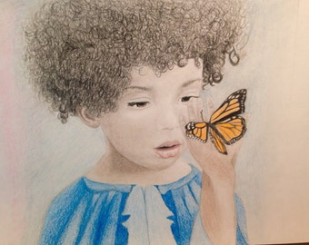 Butterfly and Little Girl. 11 in. X 8.5 in. Made 2015.