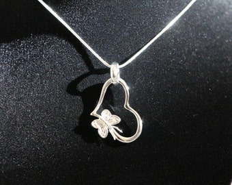 "Butterfly heart pendant with 925 sterling silver 18"" necklace"