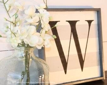 Wood letter sign   gray and white stripe   uppercase letter   distressed letter sign   capital letter sign   alphabet sign   monogram sign