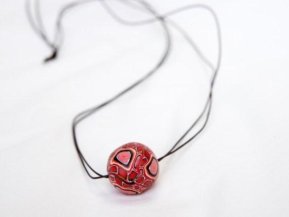 Red pendant, long pendant, boho pendant, chunky pendant, bold pendant, clay pendant, fashion pendant, pendant necklace, chunky red pendant