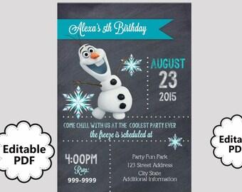 Olaf birthday invite etsy editable text olaf birthday invitation olaf party invites olaf invite instant download filmwisefo