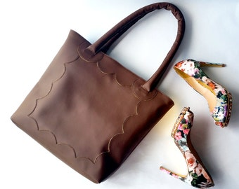 Faux Leather Tote Bag. Brown Faux Leather Bag. Scallop Tote Bag. Shoulder Bag. Vegan Tote Bag