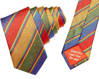 Red AfroNeckties Silk Wedding Adinkra Kente Necktie, Hand Woven Tie, Groomsmen Dress Tie, Gye Nyame Patterned Tie, African Mens Clothing