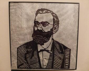 Nobel portrait Handcut paper