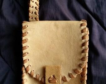 Vintage 1980's Handmade Light Beige Leather Men's Hand Bag