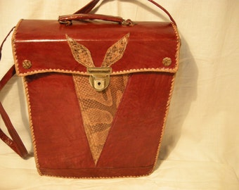 Vintage 1970's Handmade Red Leather &Snakeskin Handbag Shoulder Bag - Large Size
