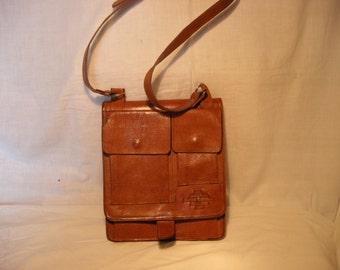 Vintage 1980's Light Brown Leather Handbag Shoulder Bag