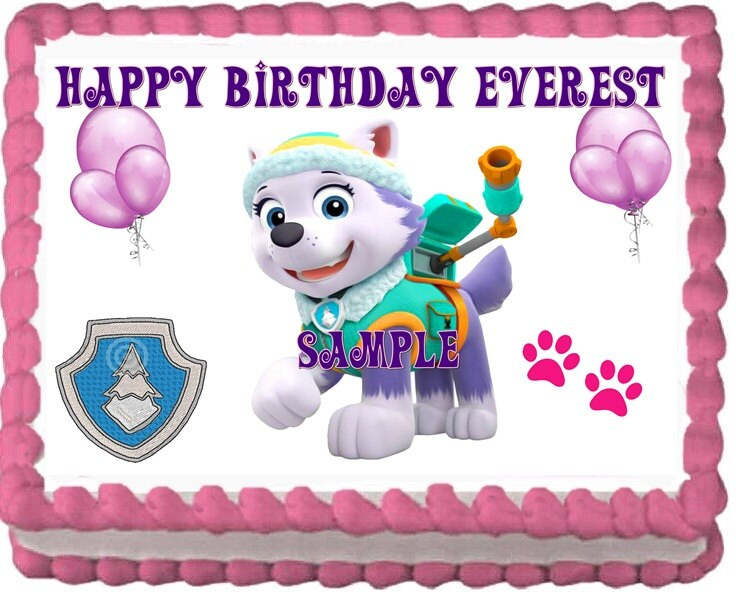 Edible Cake Decorations Paw Patrol : Paw Patrol EVEREST Edible Cake Topper Decoration by RobinBlues