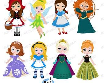 "Princess Clipart,Cute Princess Digital Clipart,""PRINCESS 3"" Princess Clip Art,Cute Princess Clipart, Fairytale clipart"