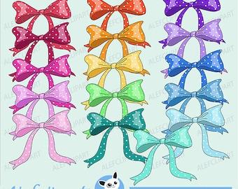 50% OFF SALE Ribbons Polka Dots Bow Digital Clipart