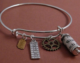 Charlie and the Chocolate Factory Recycled Book Page Wire Charm Bracelet