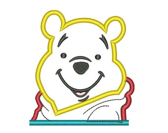 winnie the pooh applique design for embroidery machines in 4x4 instant download
