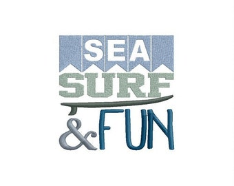 SEA SURF & FUN machine embroidery design