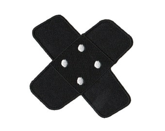 bg05 Plaster Black Iron on patches Embroidery Kids Baby