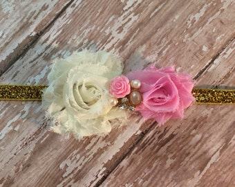 Pink and Gold Girly Shabby Headband on Gold Glitter Elastic