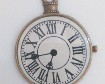 Clock pocket watch pendant bronze brass white 40 mm charm findings supplies necklace