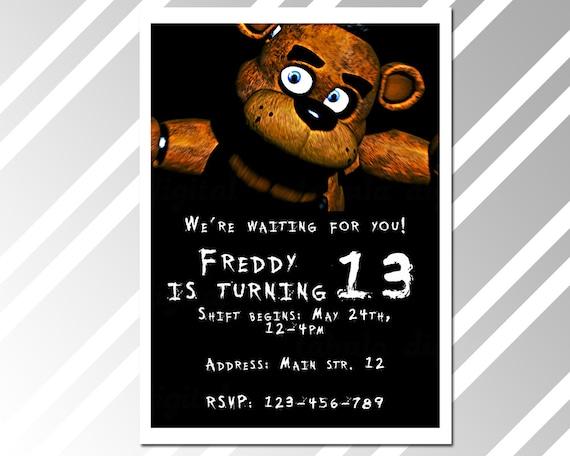 Party invitation five nights at freddy s birthday invitation card