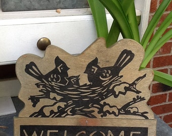 Welcome Garden sign, Wood, Green with black,