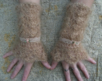 Hand-knitted apricot mohair fingerless mittens