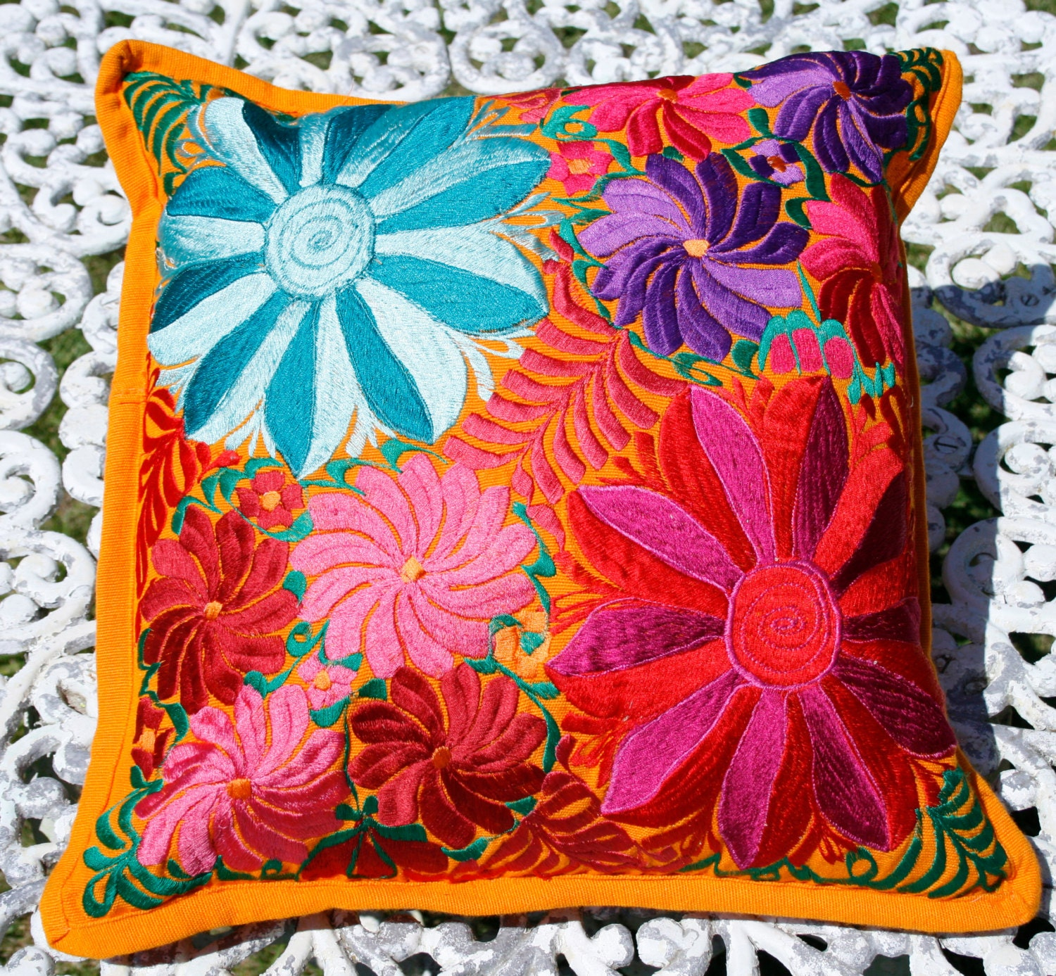 mexican floral embroidered pillow cover