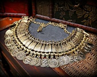 Bronze Ethnic Necklace, Statement Ethnic Necklace, Bronze Tribal Necklace, Bronze Gypsy Necklace, Kuchi Necklace, Banjara Ethnic Jewelry